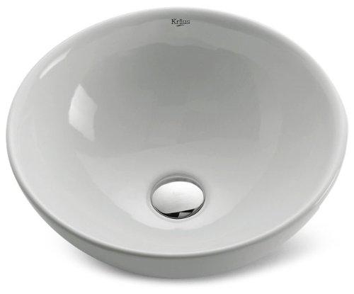 Kraus KCV-141-SN Ceramic undermount Round Bathroom Sink, 16 x 16 x 6.24 inches, Satin Nickel/White