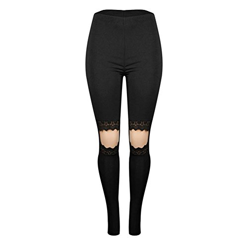 Todaies Women Lace Pants Yoga Fitness Hole Leggings Running Gym Pants Stretch Sports Pants Trousers