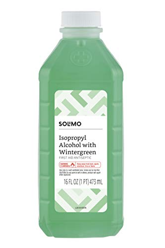 Amazon Brand - Solimo 50% Isopropyl Alcohol First Aid Antiseptic with Wintergreen, 16 Fluid Ounce