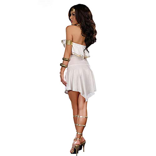 LVLUOYE Cosplay Costume, White Venus Goddess, Roman Greek Princess Costume, Sexy Shoulder -
