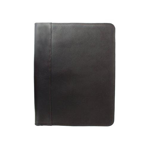 Piel Leather Zippered Padfolio, Chocolate, One Size