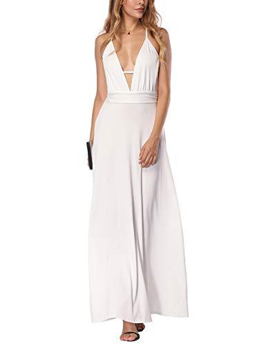 (JOYMODE Women's Long Dress Sleeveless V-Neck Vintage Bridesmaid Dresses Evening Party)