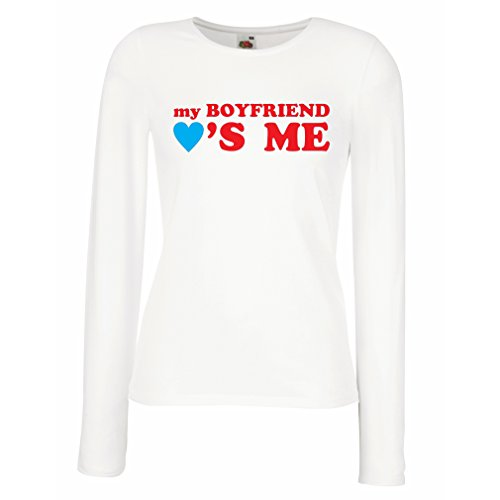T Shirts for Women Long Sleeve My Boyfriend Loves me! Girlfriend Gifts for St. Valentine (X-Large White Red)