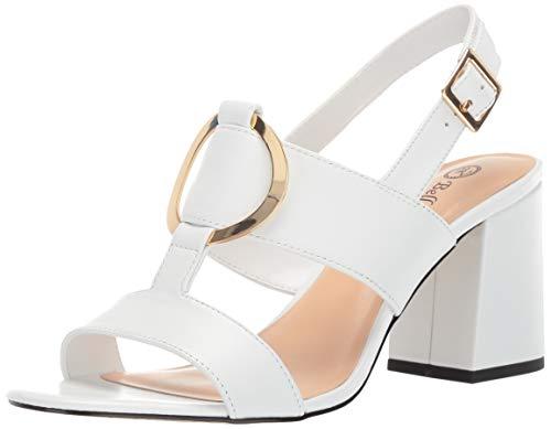 Bella Vita Women's Tanya Slingback Sandal with Metal Ornament Shoe, White Leather, 7.5 W US