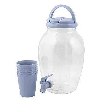 Dispensador de bebidas 4,4l plástico Incluye 6 vasos agua dispensador Depósito grifo