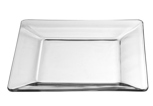 Libbey Crisa Tempo Square Dinner Plate, 10-Inch , Box of 12, Clear (Plates Glass Clear Square)