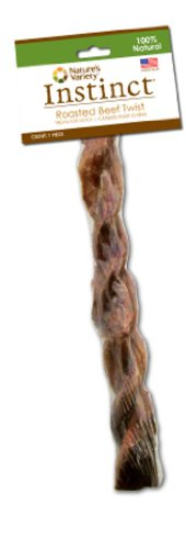 Instinct Grain-Free Slow Roasted Beef Twist Dog Treat by Nature's Variety, 1-Count Twist, My Pet Supplies