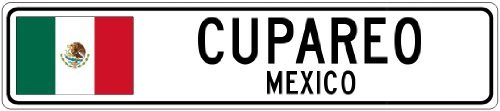 Custom Street SignCUPAREO, MEXICO - Mexico Flag City Sign - 3x18 Inches Aluminum Metal Sign