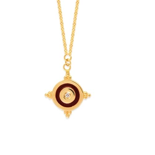 - 14k Yellow Gold 0.015 dwt Diamond Cherry Enamel Disk Medal Pendant and - 18 Inch