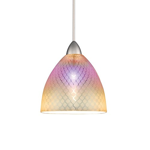 WAC Lighting MP-546-DIC/BN Ambrosia European Collection 1-Light Monopoint Pendant with Dichroic Shade and Brushed Nickel Finish ()