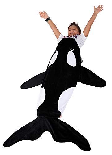 Lovely Pumpkins Whale Polar Fleece Blanket, Orca Toddler Blanket,Kids Sleep Bag: Ultra-soft Pocket Style Keeps Kids Warm. Size 3-8 years