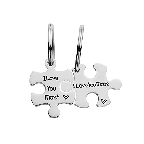 Raysunfook I Love You More Most Valentines Day Couples Puzzle Piece Necklace Jigsaw Keychain 2 Set Pendant for Boyfriend Girlfriend Wife Husband (Puzzle Piece Keychain - I Love You More & Most)