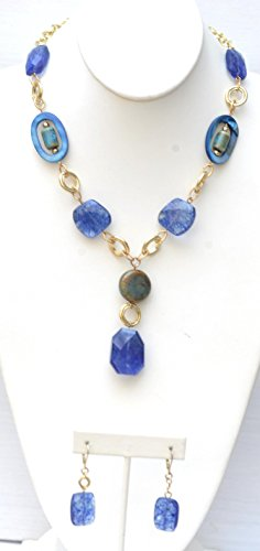 "18"" Long Necklace w/ Semi-Precious Stone Nuggets, MOP mother of pearl and Stone Pendant + Matching Earring"