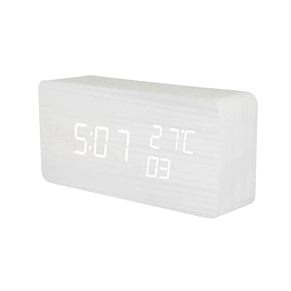 KABB Wooden Alarm Clock, Acoustic Control Digital Clock White Wood Grain White LED Light Design with Time Date Week… - LIMITED TIME SPECIAL: $18.63; Stylish and portable digital desktop alarm clock for home & office; Clear and bright display show Time (12/24hrs) Date Week and Temperature (NOTE: Only with Celsius display), Three group alarms. FASHIONABLE: Modern simplicity design, wood shape and texture will bring the breath of nature into the room. The perfect fusion of a simple alarm clock, practical and simple appearance; 3-LINE DISPLAY MODES: Mode 1: Time/ Month(date)/ Week(day); Mode 2: Hr/ Min/ Sec & Temperature ( Only Celsius) and Mode 3: Circulation show of Mode 1 & Mode 2 ; - clocks, bedroom-decor, bedroom - 31190LIIoYL. SS570  -
