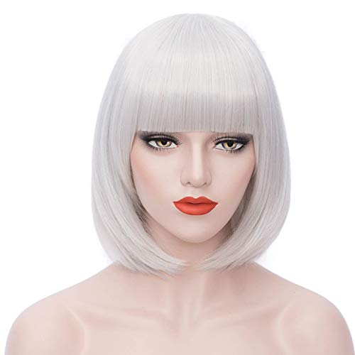 Short Bob Wig Silver Grey Hair Wigs with Bangs Cute Straight Synthetic Wig Natural As Real Hair with Wig Cap BU027S