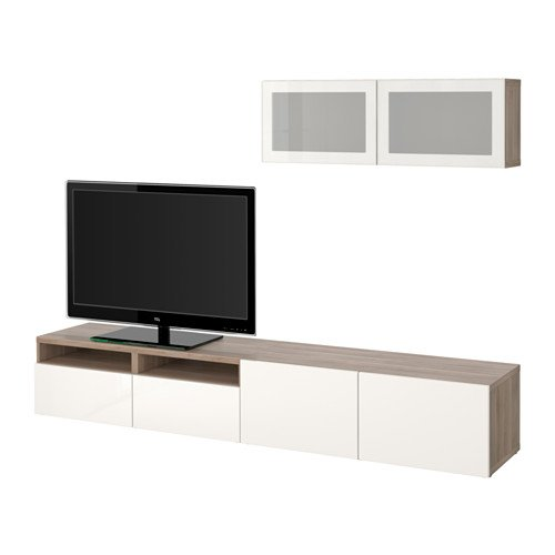 Ikea TV storage combination with soft-closing drawers and glass doors, walnut effect light gray, Selsviken high gloss/white frosted glass 4202.23817.102