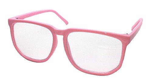 FancyG Retro Vintage Inspired Classic Nerd Clear Lens Glasses Frame - - Nerd Glasses Pink