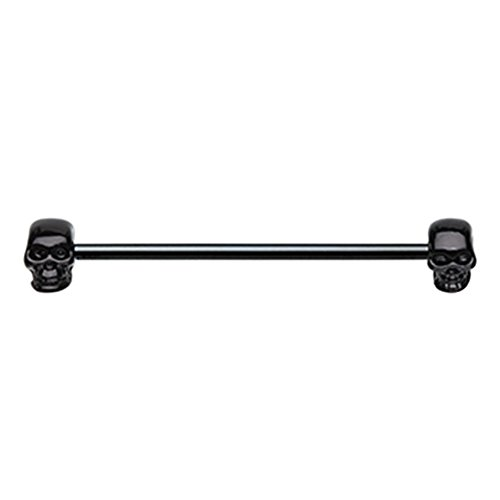 (Inspiration Dezigns 14G 35mm Black Industrial Cartilage Barbell Skull Face Piercing Jewelry)