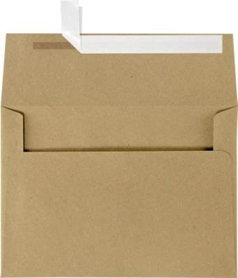 LUXPaper A7 Invitation Envelopes for 5 x 7 Cards in 80 lb. Grocery Bag, Printable Envelopes for Invitations, w/Peel and Press Seal, 50 Pack, Envelope Size 5 1/4 x 7 1/4 (Brown)