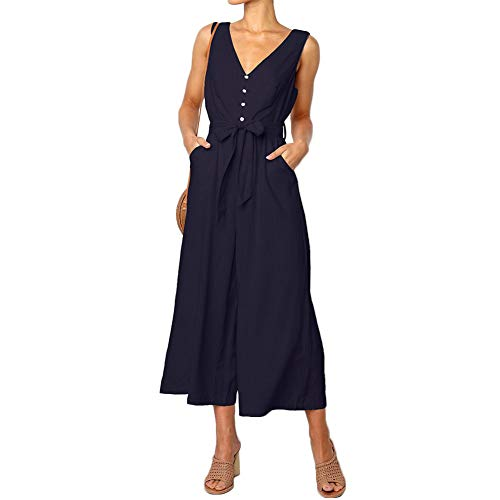 QUNNDY Women's Jumpsuits Casual Button Deep V Neck Sleeveless Belted Wide Leg Loose Jumpsuit Rompers with Pockets (M, Darkblue)
