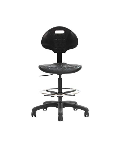 CHAIR MASTER Drafting Stool-Deluxe Ergonomic Polyurethane Chair. 10'' of Height Adjustment (22''-32'' Seat Ht). 18'' Adjustable Footring 450 lb Capacity. Easy to Clean. for Automotive, Lab, Cleanroom by Chair Master