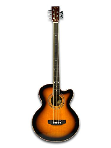Fretless 5 String Cutaway Acoustic Electric Bass, Sunburst Top - Acoustic Electric Fretless Bass Guitar