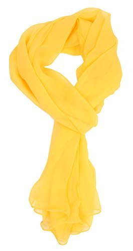 Tanu Collections Silk Blend Oblong Chiffon Scarf in Solid Colors (Yellow) (Blend Scarf)