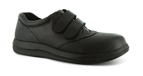 Pw Minor Leisure Dames Therapeutisch Diabetisch Extra Diepte Schoen Leer Velcro Zwart