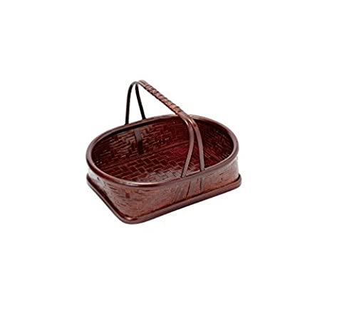 Bamboo Japanese Ajiro Oval Basket with Handle 9.8 x 7.6 x 2.5 inches From Japan - Hand Woven Oval Basket