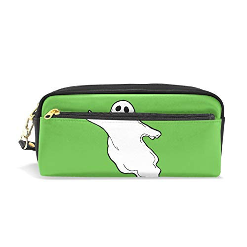 Pencil Case,DEYYA Halloween-Photos-Flying-Ghost-Clipart PU Leather Big Capacity Pen Case Desk Organizer with Zipper for School & Office Supplies - 7.87x2.16x3.35 Inch for $<!--$14.99-->