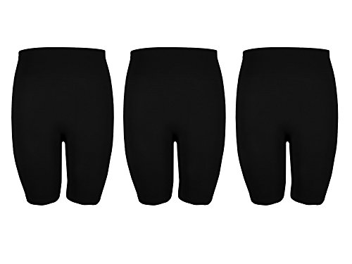 Crush Womens Seamless Basic Knee Length Bike Shorts Pack Of Three Black Size L/XL