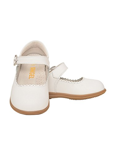 (L'Amour Girls White Scalloped Trim Leather Mary Jane Shoes 7 Toddler)