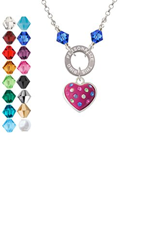 Hot Pink Resin Heart in Frame Custom Engraved Name Ring Crystal (Heart Frame Name Pendant)