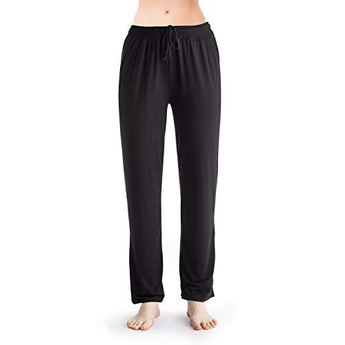 VIPEX Women Full Length Lounge Wear Panties Solid Color Modal Pajama Pants Sleepwear Nightwear Black