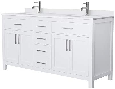 Beckett 66 Inch Double Bathroom Vanity In White White Cultured Marble Countertop Undermount Square Sinks No Mirror Amazon Com