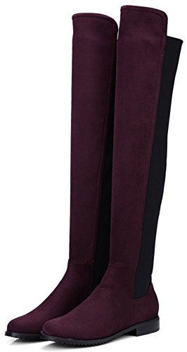 Easemax Women's Comfy Faux Suede Low Chunky Heeled Round Toe Pull On Over Knee High Booties Wine Red wmH5i6Qdp