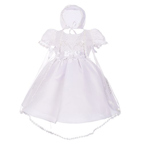 Dressy Daisy Baby Girls' Pearls Embroidered Baptism Christening Gown Dress with Cape and Bonnet Infant Size 9 Months White