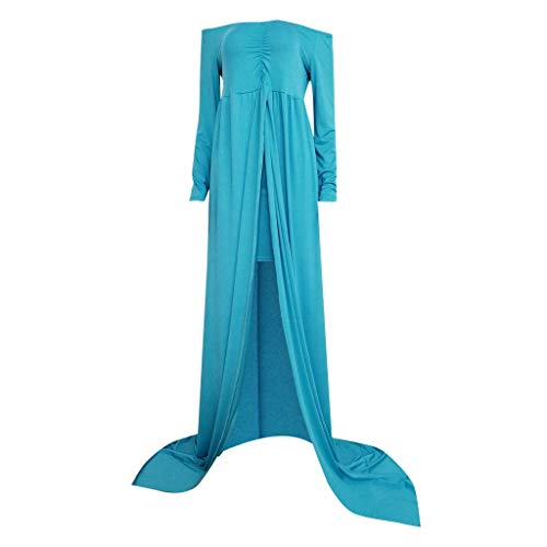 Maternity Dress Women's Off Shoulder Maternity Gown for Photo Shoots Split Front Sheer Maxi Bridesmaid Dress CapsA Light Blue