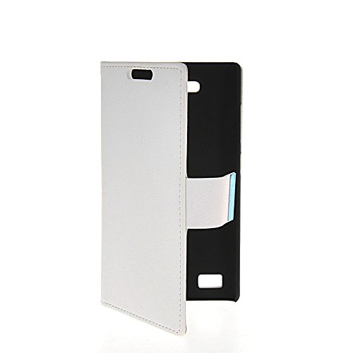 LINTAO Leather Wallet Flip Card Stand Side Pouch Back Case Cover For Huawei Honor 3C White