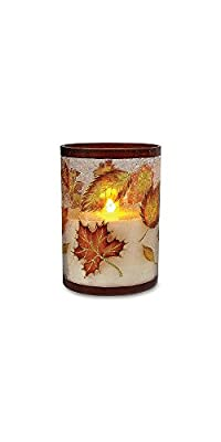 """6"""" Glass Flameless LED Harvest Pillar Candle with Timer"""