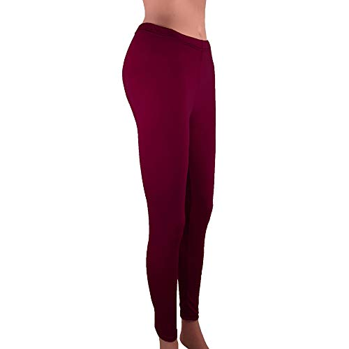 BEUU Active Leggings for Women, Yoga Pants for Women, Women Low Waisted Skinny Opaque Soft Yoga Waisted Slim Pants Solid Length Pants Jeggings High-Rise 7/8 Slimming Wine