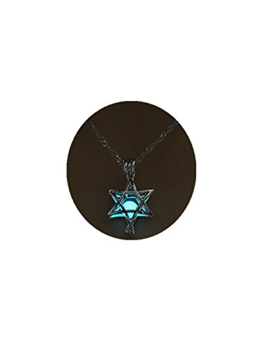 Hollow Five Pointed Star Pendant Necklace For Women Jewelry Glowing In The Dark 3 Colors Luminous Choker Necklace (Light blue)