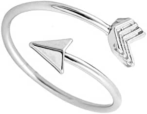 NOUMANDA Adjustable Gold Silver and Rose Gold Plated Simple Small Arrow Rings for Women