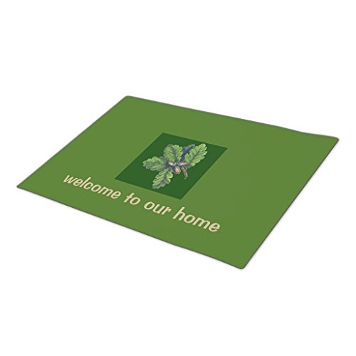 Personalized Oak Leaf Mat (GB Plan Custom Doormat Oak Leaves and Acorns Welcome Double Door)