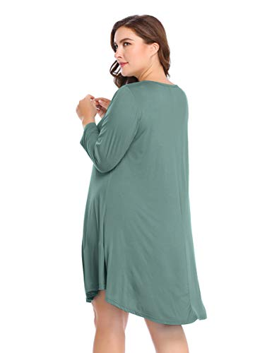 T Shirt Loose Women's Sleeve Flare Dress Grayish 3 Green 4 BELAROI Casual Simple Plain 1wSqUq86x