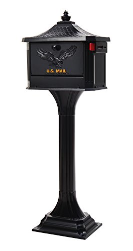 Gibraltar Mailboxes Pedestal Large Capacity Cast Aluminum Black, Mailbox & Post Combo, (Supreme Locking Mailbox)