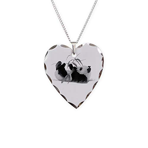 CafePress Giant Panda Charm Necklace with Heart Pendant