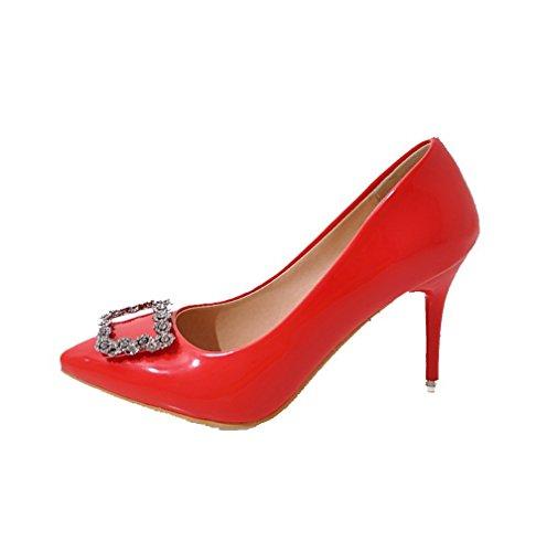 Amoonyfashion Kvinna Lackläder Kick-häl Pekade-tå Pådrag Pumpar-shoes Röda