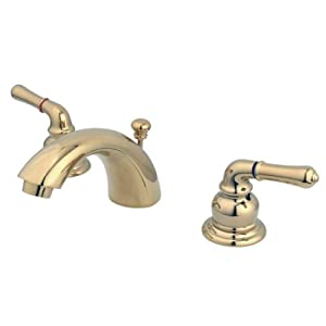 Kingston Brass KB952 Magellan II 4-Inch to 8-Inch Mini Widespread Lavatory Faucet with Metal lever handle, Polished Brass