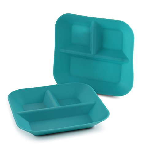 Made in the USA 100% Silicone Plates for Babies & Kids by Kiddiebites - 2-Pack BPA, BPS, PVC, phthalate, cadmium, and lead Free, FDA Approved Silicone, Divided Child's Placemat Set (Teal) by Kiddiebites (Image #9)